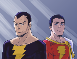 Captain Marvel and Black Adam by Sii-SEN