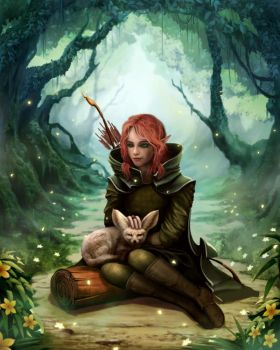 The Wood Elf and Fennec Fox by Ruanmingren