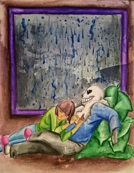 Undertale - Rainy day cuddles by constancelea