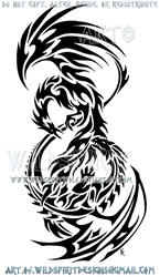 Phoenix Dragon Tribal Design by WildSpiritWolf