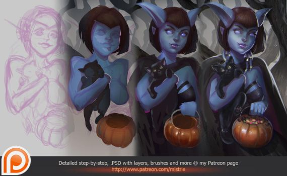 Halloween is coming steps by AppleSin