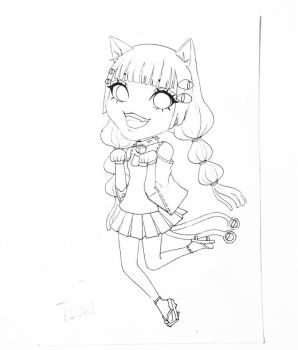 Line Art of Tsuki by MikaLinCow