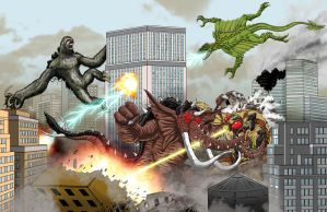 Kaiju Commission - Mega Kaiju Brawl!!! by Bracey100