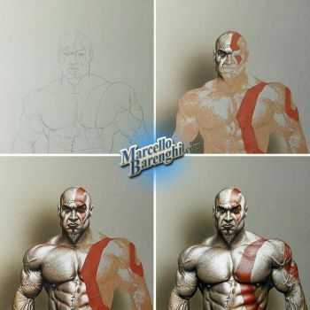 Drawing Kratos God of War by marcellobarenghi