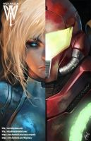 Metroid- Samus and Zero Suit Split by WizyakuzaGod56