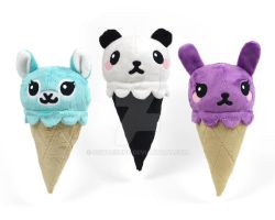 Animal Ice Cream Cone Plush by SewDesuNe