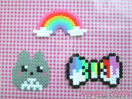 Kawaii Hama: Totoro, Rainbow, Paint Bow by FiyahKitteh