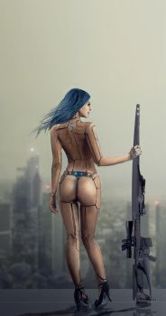 Cyborg sniper girl by Silberius