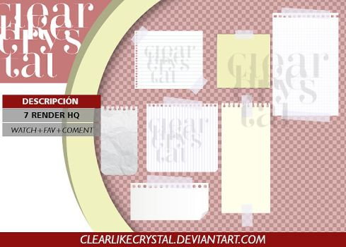 PACK PNG   NOTAS   HOJAS DE PAPEL by clearlikecrystal