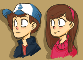 Dipper and Mabel by rivliex