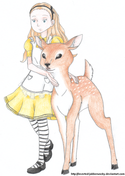 Alice and the fawn by Inverted-Jabberwocky