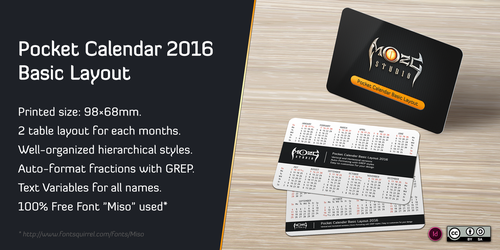 Pocket Calendar 2016 Basic Layout by M-O-Z-G