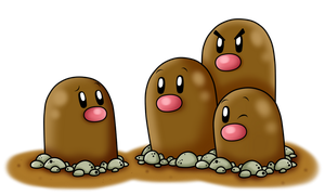 Diglett and Dugtrio by BoxBird