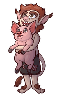 Commission: Troll and Pig by Lucheek