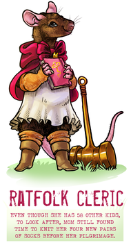 Day 40 - Ratfolk Cleric by flatw00ds