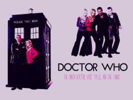 Nine, Rose, and The TARDIS - Pink Version by colorfulmangos