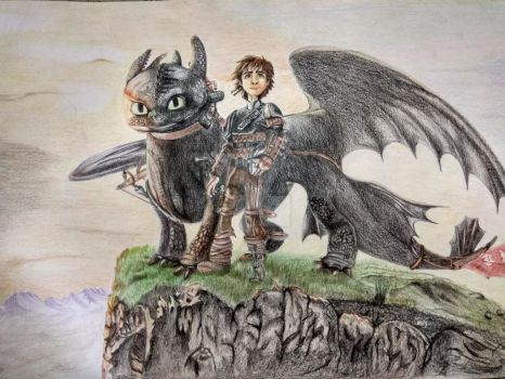 Hiccup and Toothless by srinathwildart