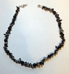 Obsidian and Jet Necklace FOR SALE $15 by PudgeyRedFox
