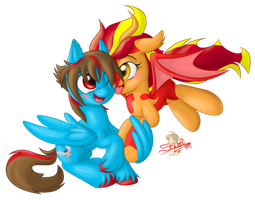 Sky and Firewing. Commission for CrypticGamer by UniSoLeiL