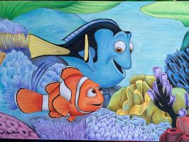 Finding Nemo Dory and Marlin drawing by billyboyuk