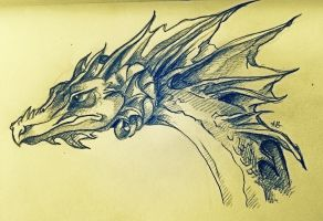Frilled Western Dragon by AlexandraBowmanArt