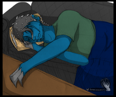 Rhys Sleeping On The Couch by Creth-Alretan