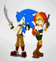 Sonic and Sally pirates by mydreamisdraw