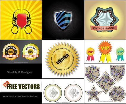 Shield Badge Vector Pack Free by 123freevectors