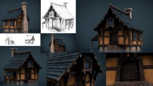 Medieval Town House 1 3d Model by sanchiesp