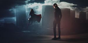 Supergirl And Flash Crossover Banner by dan-zhbanov