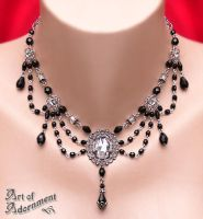 Harlequin Filigree Drop Necklace by ArtOfAdornment