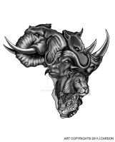 Tattoo Commission: Africa's Big Five by JaggedCorners