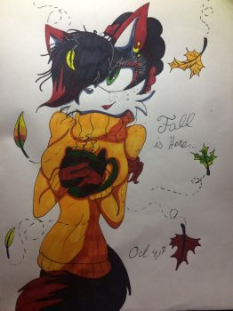Fall is Here... Colored!! by MatakietheHedgewolf