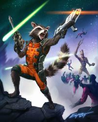 Rocket Racoon (and Groot) by EspenG