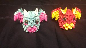 3D origami dragons by IceKatana