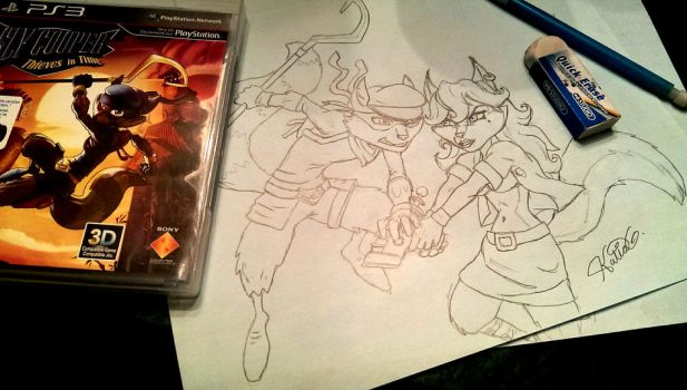 Sly Cooper sketch by Katia-Gagne