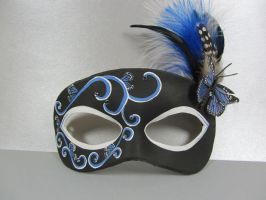 Butterfly leather mask in black and blue by maskedzone