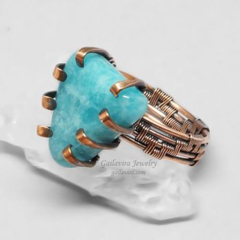 Copper and Blue Stone Wire Wrapped Prong Ring by Gailavira