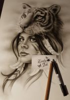 Tiger And Girl in the making by Zindy