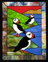 Stained Glass Puffins by tursiart