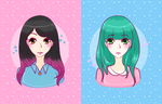Colorful hair by Chocorabitsu