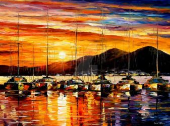 Italy, Naples Harbor  Vesuvius by Leonid Afremov by Leonidafremov