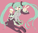 vocaloid miku lineart by michy123