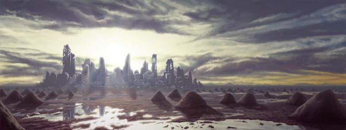 Distant City in Ruins by danjohnpaintr