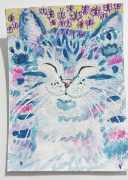 Happy  cat  pink blue  butterfllies whimsical by tulipteardrops