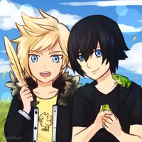 Little Prompto and Noctis by Sealkittyy