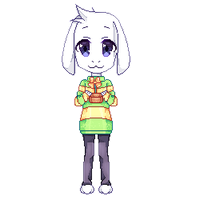 Asriel and a golden flower by Rinitoruu