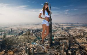 Giantess Nina Agdal in Dubai... by Cinematic-GTS