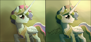 Celestia in the Equestrian 50s by DarkFlame75
