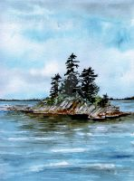 Seascape Casco Bay Maine by aragonia